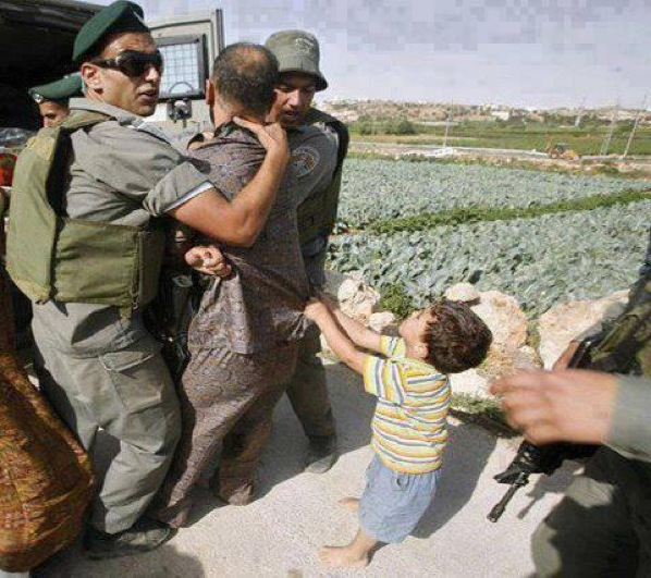 Palestinian Child trying to stop his father's arrest by Isreali Soldiers. Deep #PrayForGaza #GazaUnderAttack""